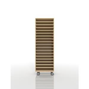 書類ラック A3 キャスター付き 木製 オフィス収納(PNO-A3-18×1・BLC-12-BX×1) margherita