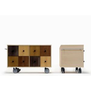 CDラック キャスター付き カラー ローチェスト 木製|margherita