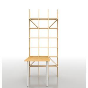 机付き本棚 壁面収納 SOHO家具 おしゃれ ワークデスク 高さ240cm (デスクの高さ72cm 奥行120cm) margherita