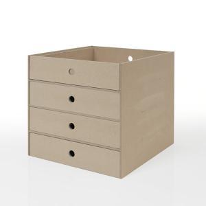 本棚 壁面書棚 壁一面本棚 A4 書類 収納 引き出し 4段 (奥行350本棚専用)|margherita