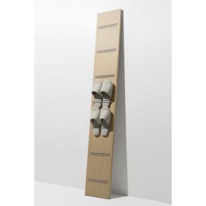壁掛けスリッパ収納 木製 見せる 玄関ラック 壁立て掛け 1列7段|margherita