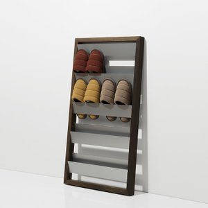 スリッパラック 壁掛け おしゃれ ロータイプ 8足収納 デザイン 玄関収納 薄型 壁立て掛け|margherita