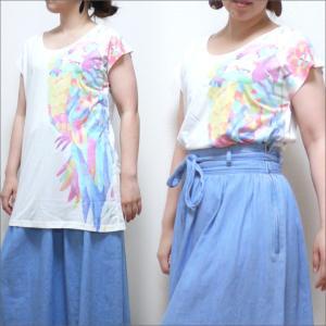 ビックTシャツ 昇華プリントアイランド  ロングTシャツ アジアン エスニック 体型カバー ゆったり 送料無料|mari-stone