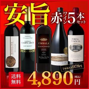ワインセット 安旨赤ワイン5本セット コスパ抜群 スペイン ポルトガル 南アフリカ産赤ワイン...