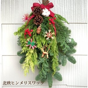 クリスマススワッグ 玄関 フレッ シュ 『北欧ヒンメリスワッグ』 生 クリスマス スワッグ ギフト 手作り プレゼント 北欧 贈り物 ナチュラル オレゴン