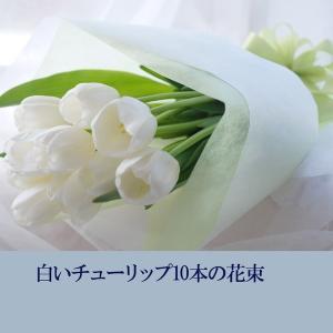 チューリップ 花束 白いチューリップ10本の花束 予約 生花 誕生日 プレゼント 贈り物 ギフト|marika