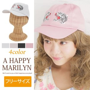 レディース 帽子 刺繍入 サテンキャップ ぼうし 女性用 ベースボールキャップ ボーイッシュ 30代 40代 ファッション|marilyn