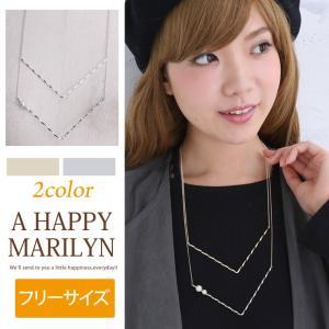 レディース ネックレス メタル×フェイクパール 2連ネックレス アクセサリー 30代40代50代 ファッション|marilyn