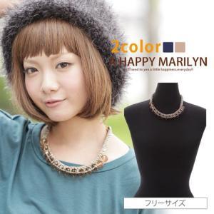 レディース アクセサリー ビーズ×チェーン デザイン ネックレス 30代40代50代 ファッション|marilyn