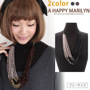 レディース アクセサリー ツイスト デザイン ビーズ ネックレス 30代 40代 ファッション|marilyn