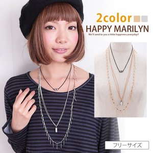 レディース ネックレス ビジュ付き 3連 ネックレス 30代 40代 ファッション|marilyn