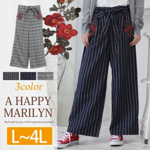 L〜 大きいサイズ レディース パンツ ワイド ロング グレンチェック・ストライプ 共布リボンベルト 刺繍 ボトムス 秋 冬 30代 40代 ファッション|marilyn