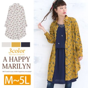 大きいサイズ レディース ワンピース シャツワンピース ヴィンテージ花柄 長袖 30代 40代 ファッション mo|marilyn