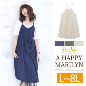 大きいサイズ レディース ワンピース ノースリーブ エプロン 春 夏 30代40代50代 ファッション mo|marilyn