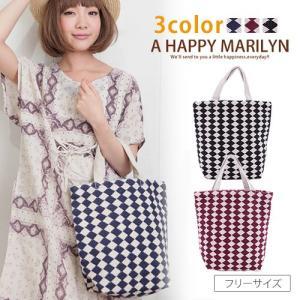 かばん レディース 鞄 ダイヤ柄 コットン バッグ ナチュラルな雰囲気で小物から秋らしく 30代 40代 50代 ファッション|marilyn
