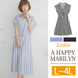 大きいサイズ レディース ワンピース 半袖 スッキパー 抜き衿 ブラウジング ランダムストライプ柄 30代 40代 ファッション|marilyn