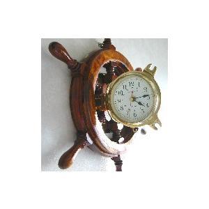 ラット時計 アカシヤ380mm 舵輪 真鍮製 人気|marine-guide