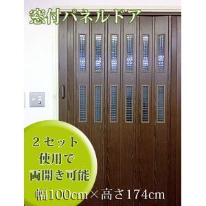 パネルドア窓付 (部屋の間仕切りに最適)幅100cm×高さ174cm 木目ダークオーク|marine0201