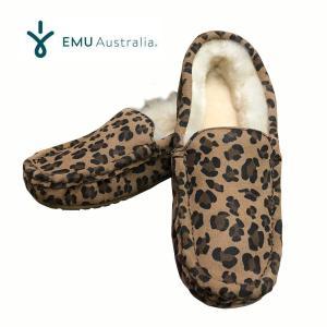 エミュー emu EMU ふわふわ ムートン シープスキン レディース ボアモカシンシューズ TALIA PL PRINT レオパード|mariner