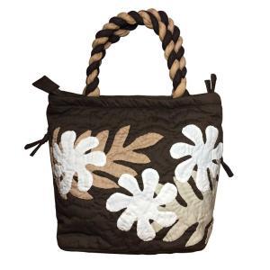 ハワイアンキルト ハンドバッグ プルメリア×モンステラ ブラウン/ Hawaiian quilt レディースバッグ|mariner