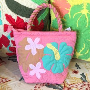 ハワイアンキルト ハンドバッグ ハイビスカス ピンク/ Hawaiian quilt レディースバッグ|mariner