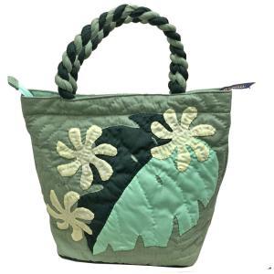 ハワイアンキルト ハンドバッグ モンステラ×プルメリア グリーン/ Hawaiian quilt レディースバッグ|mariner