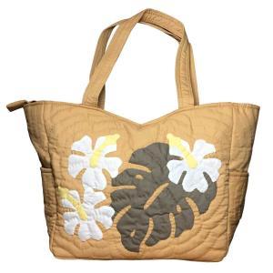 ハワイアンキルト ハンドバッグ モンステラ×ハイビスカス マスタード/ Hawaiian quilt レディースバッグ|mariner