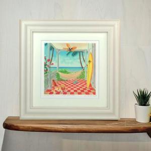 絵画 「my lanai」 栗乃木ハルミ/ サーフィン インテリア フラグッズ ハワイ hk0086|mariner