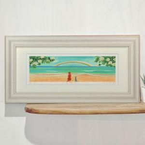 絵画 「友情5」 栗乃木ハルミ/ サーフィン インテリア フラグッズ ハワイ hk0182|mariner