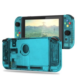 Myriann 任天堂 Nintendo Switch ニンテンドー カラー置換ケース 代わりケース 外殻 ついに登場! (ジョイコン&スイッチ-透明感 シアン)|maritakashop