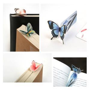 (moin moin) しおり ブックマーク ブックマーカー メッセージ カード 本にとまってるみたい! ちょうちょ 蝶 立体 3D お花 カラフル 本体 + 封筒 14種セット|maritakashop