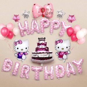 ハローキティ 誕生日 装飾 キティちゃん 可愛い ピンク 女の子 子供 happy birthday バルーン 風船 蝶結び スターバルーン 空気入れ付き 24枚セッ maritakashop