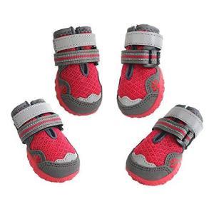 ASMPET ドッグブーツ 犬用靴 お散歩 軽く柔らかい 履きやすい ドッグシューズ 反射テープ付き 安全性、通気抜群 一足分4個セット(6|maritakashop