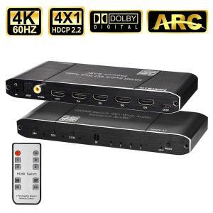 Iseebiz HDMI切替器 4入力1出力 4k・60HZ HDR対応 HDCP2.2 自動切替 音声分離 PS4pro動作確認済み 光ファイバー Dolby/DTS 5.1オーディオ対応 日本語説明書付き|maritakashop
