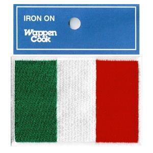イタリア国旗ワッペン サイズ約5.5cmx8cm刺繍ワッペンアイロン接着ブランドCooks ■国旗ワ...