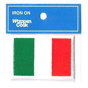 イタリア国旗ワッペン サイズ約4.5cmx6.3cm刺繍ワッペンアイロン接着ブランドCooks ■国...