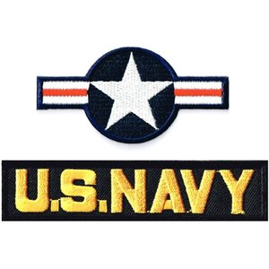 ミリタリーワッペン 米国籍標識ナショナルスター+NAVYタブ 2Pセット|markers-patch