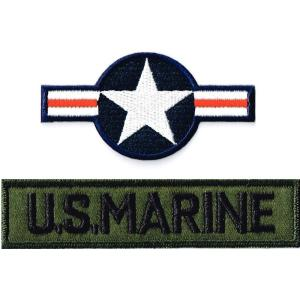 ミリタリーワッペン 米国籍標識ナショナルスター+USMC ODタブ 2Pセット|markers-patch