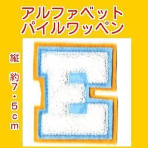 アルファベットワッペン タテ約7.5cmEシロ markers-patch