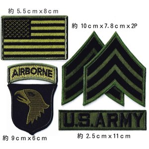 アメリカ陸軍 ミリタリーパッチ スクリーミングイーグル ワッペン ODセット...