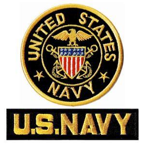 ミリタリーパッチ 米海軍士官ワッペンM+NAVYタブ 2Pセット|markers-patch