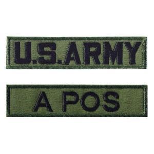 ミリタリーワッペン 血液型A POS+ARMY OD 2Pセ...