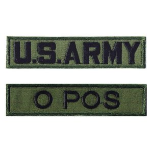 ミリタリーワッペン 血液型O POS+ARMY OD 2Pセ...