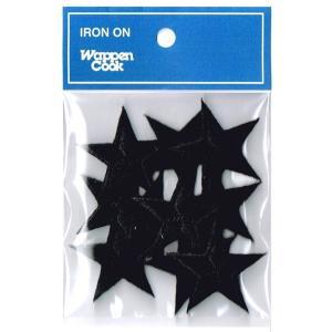 刺繍ワッペン 星 ブラックスタ−(10個セット)|markers-patch