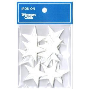 刺繍ワッペン 星 ホワイトスタ−(10個セット)|markers-patch