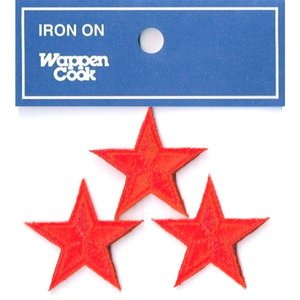 刺繍ワッペン 星 レッドスタ−(3個セット)|markers-patch