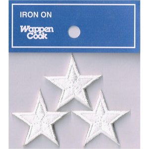 刺繍ワッペン 星 ホワイトスタ−(3個セット)|markers-patch