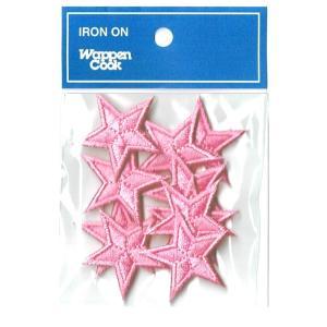 刺繍ワッペン 星 ピンクスタ−(10個セット)|markers-patch