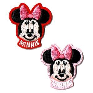 ディズニー ワッペン キャラクター ミニーマウス フェイス 2Pセット markers-patch