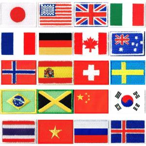 国旗ワッペンサイズ約2.4cmx3.3cm刺繍ワッペン国旗 アイロン接着ブランドCooks ■ワッペ...